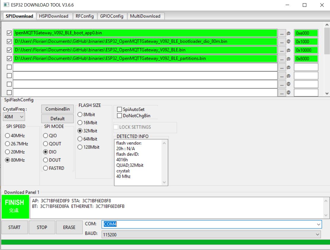Flashing pre-built esp32 binary - Boards - OpenMQTTGateway